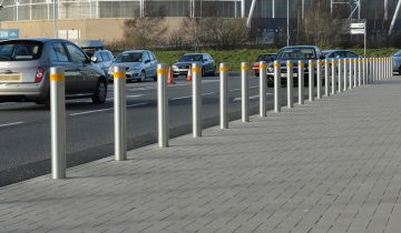 safety-bollards-on-a-busy-road